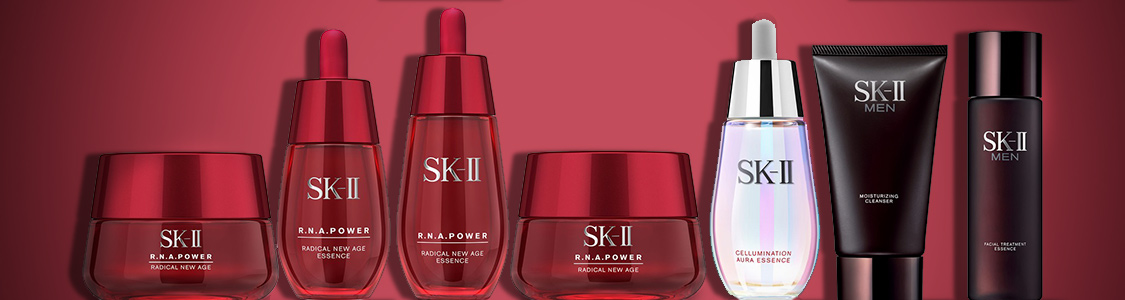 SK-ii r.n.a power skincare range and sk-ii men products banner